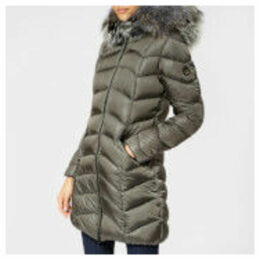 Froccella Women's Long Plain Parka - Grey/Teal Fur - XS - Grey