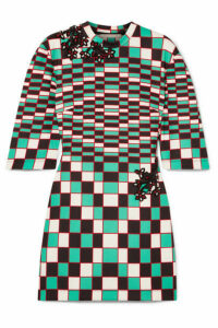 Christopher Kane - Embellished Checked Stretch-scuba Mini Dress - Forest green