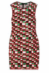 Christopher Kane - Checked Sequined Tulle Mini Dress - Red