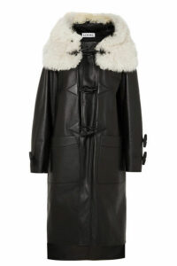 Loewe - Shearling-trimmed Leather Coat - Black