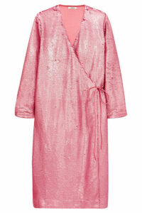 GANNI - Sequined Satin Wrap Dress - Pink