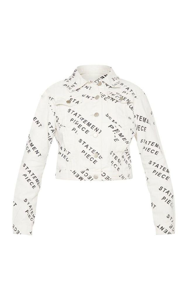 White Statement Piece Cropped Denim Jacket, White