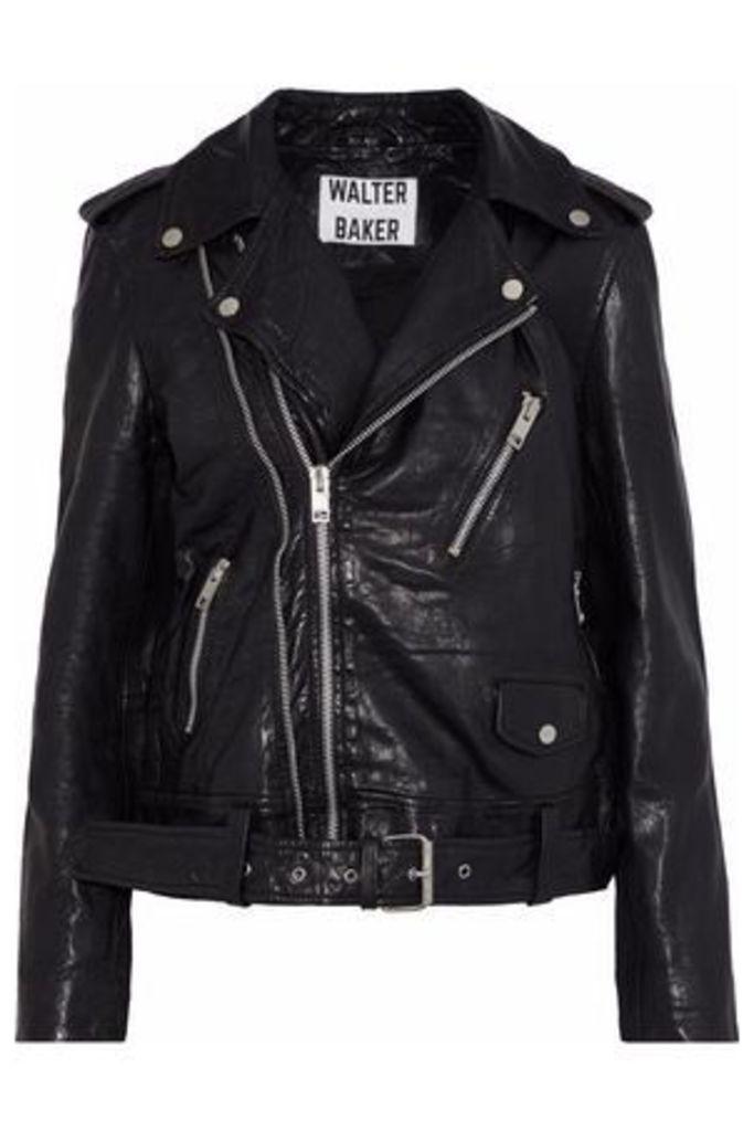 W118 By Walter Baker Woman Kingsley Crinkled-leather Biker Jacket Black Size M