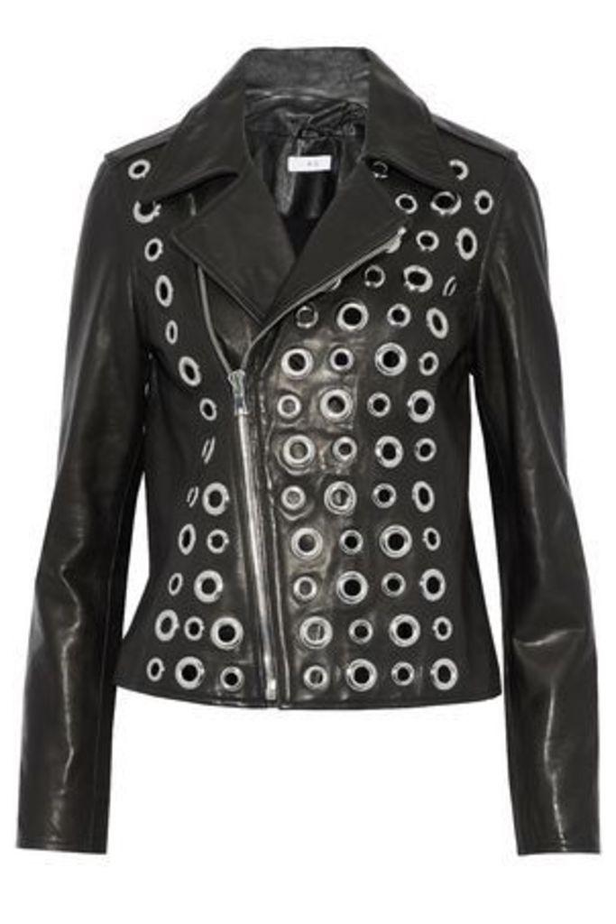 Rta Woman Eyelet-embellished Leather Biker Jacket Black Size XS