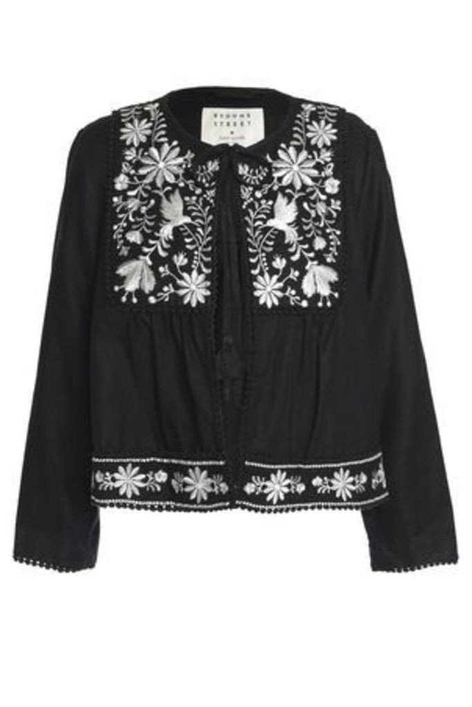 Kate Spade New York Woman Broome Street Embroidered Twill Jacket Black Size S
