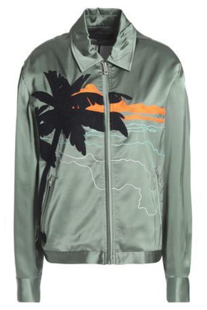 Rag & Bone Woman Appliquéd Crepe-satin Jacket Grey Green Size M