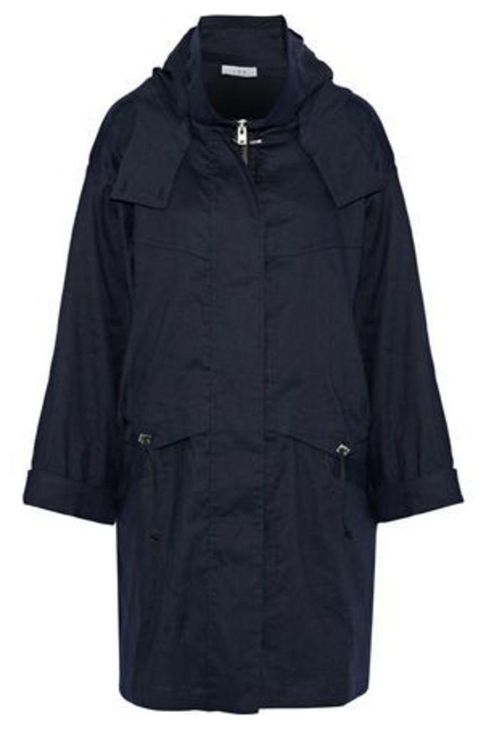 Iro Woman Gerald Linen-blend Twill Hooded Jacket Navy Size 40