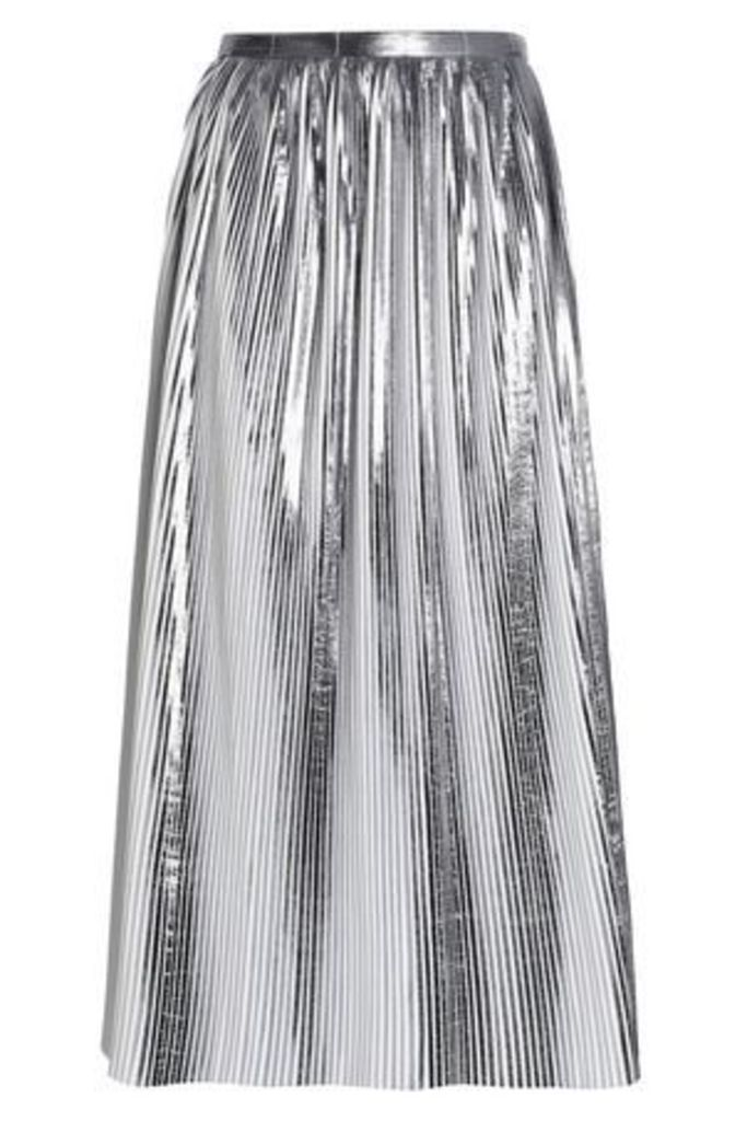 Rachel Gilbert Woman Hadarah Plissé Coated-felt Midi Skirt Silver Size 4
