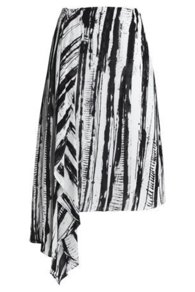 House Of Dagmar Woman Printed Georgette Skirt White Size 36