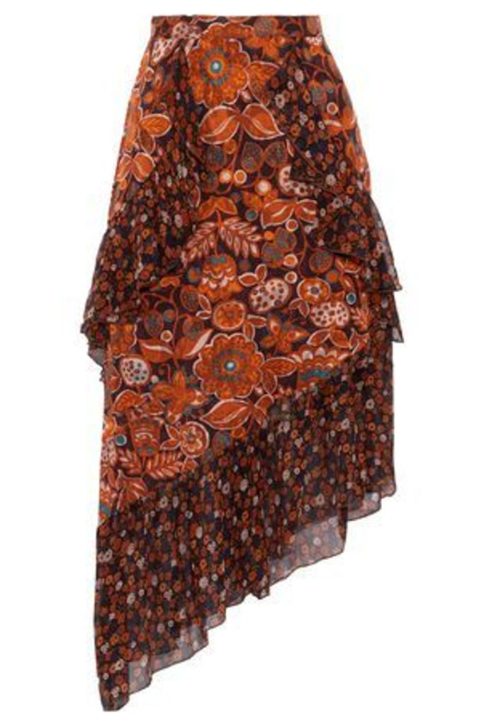 Anna Sui Woman Printed Fil Coupé And Silk-chiffon Skirt Orange Size 10