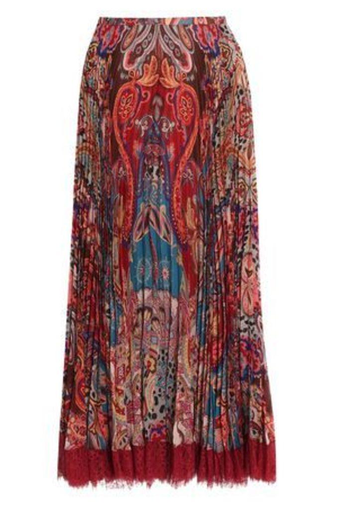 Roberto Cavalli Woman Pleated Printed Silk-crepe Maxi Skirt Brick Size 38