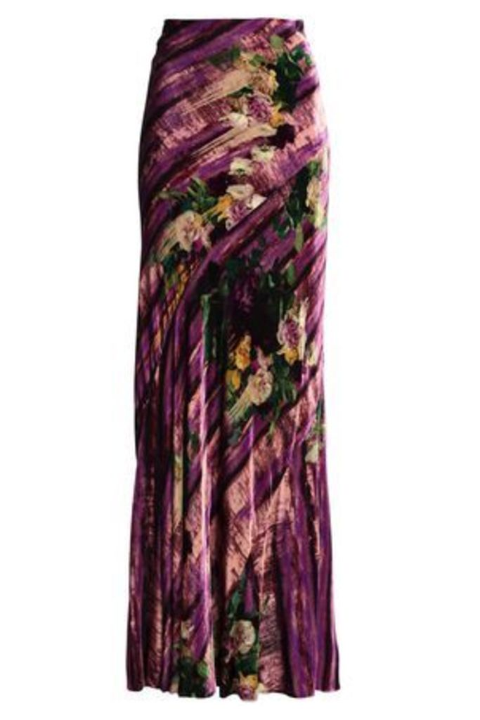 Alberta Ferretti Woman Printed Velvet Maxi Skirt Violet Size 42