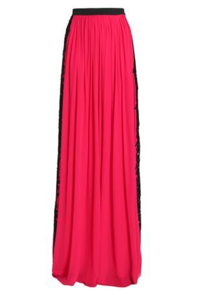Zuhair Murad Woman Lace-trimmed Silk-blend Crepe Maxi Skirt Bright Pink Size 40