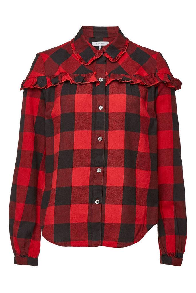 Frame Denim Cotton Flannel Ruffle Check Button Down Shirt