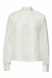 Frame Denim Embroidered Lace Blouse with Cotton