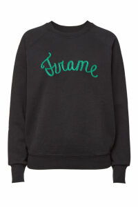 Frame Denim Old School Cotton Sweatshirt with Embroidery