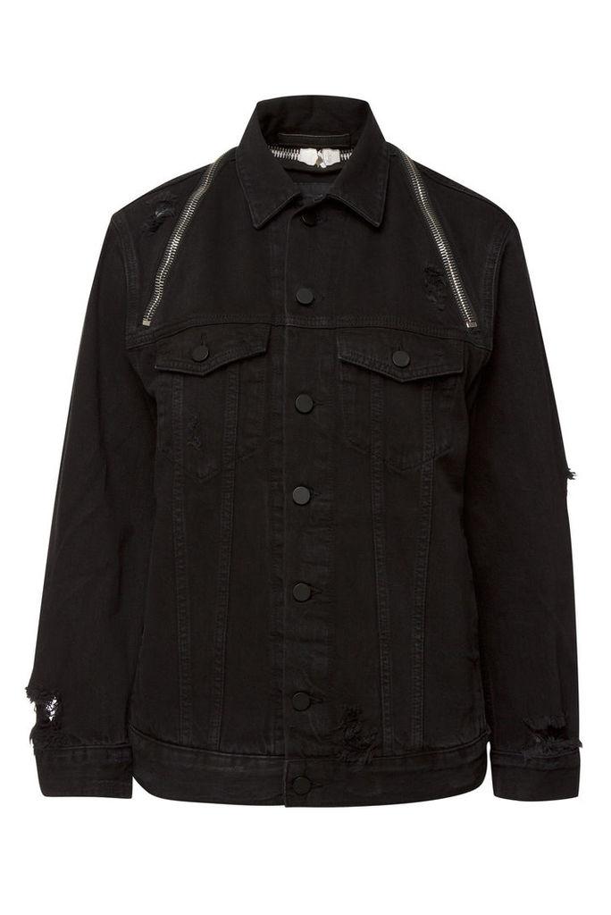 alexanderwang.t Denim Jacket with Distressed Detail