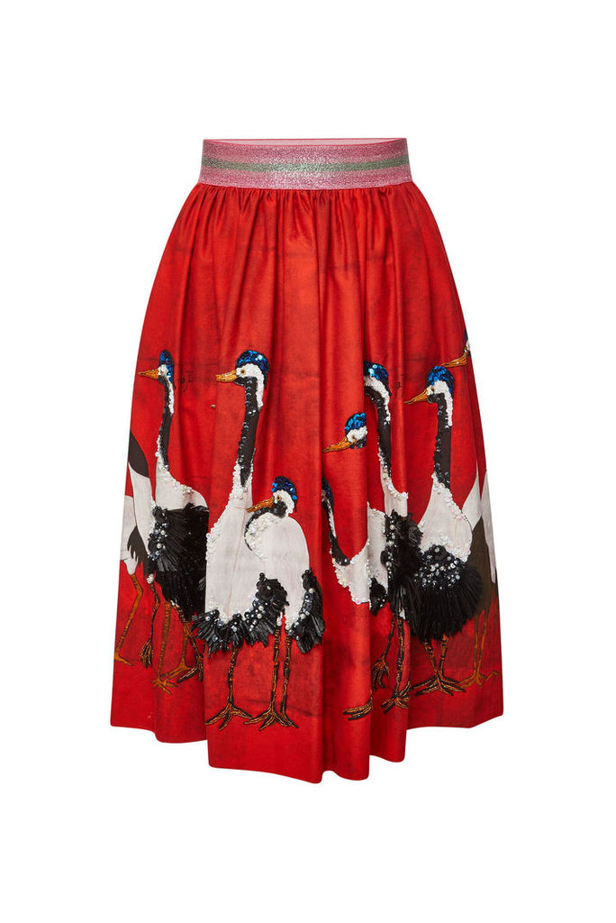 Stella Jean Printed Cotton Skirt with Embellishment