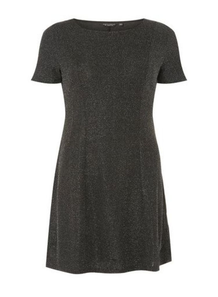 Womens Silver Glitter Fit And Flare Dress- Silver, Silver