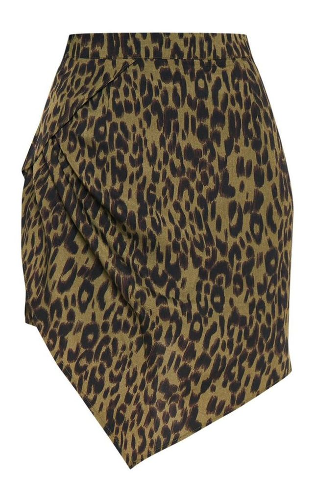 Khaki Leopard Print Gathered Asymmetric Skirt, Green