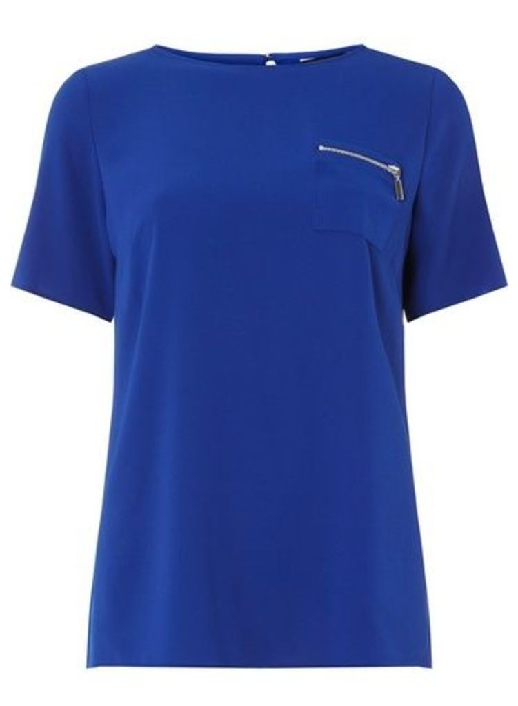 Womens Cobalt Zip Pocket T-Shirt- Cobalt, Cobalt