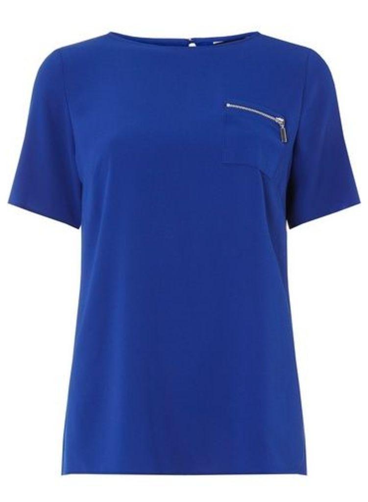 Womens Cobalt Zip Pocket T-Shirt- Cobalt, Cobalt