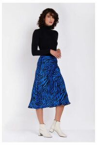 Womens Ghost London Blue Printed Laila Satin Skirt -  Blue