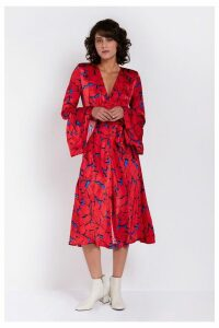 Womens Ghost London Red Printed Annabelle Satin Dress -  Red
