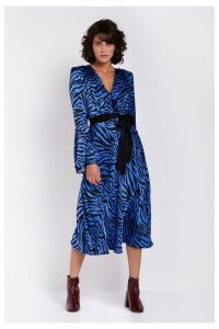 Womens Ghost London Blue Printed Annabelle Satin Dress -  Blue