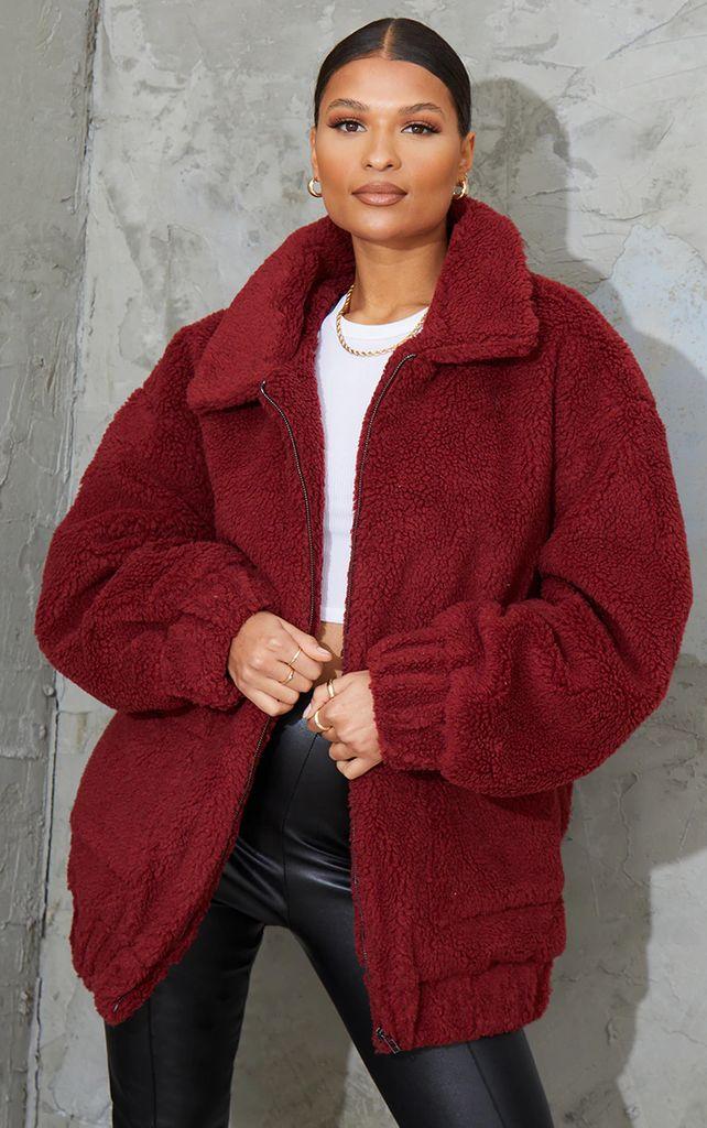 Burgundy Oversized Borg Pocket Front Coat, Red
