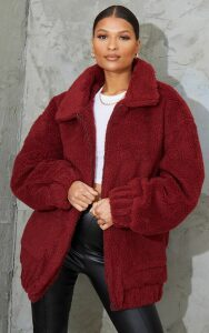 Burgundy Oversized Borg Pocket Front Coat, Red