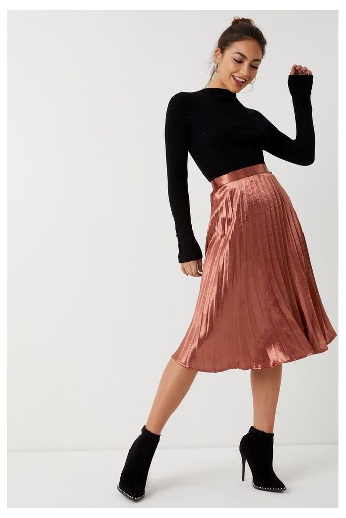 Womens Missguided Satin Pleated Skirt -  Orange