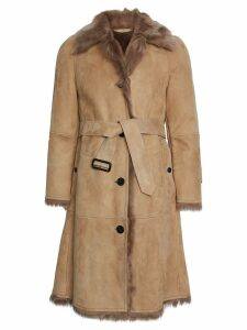 Burberry Shearling Car Coat - Neutrals
