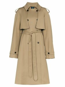 Matthew Adams Dolan check print lined belted cotton trench coat -