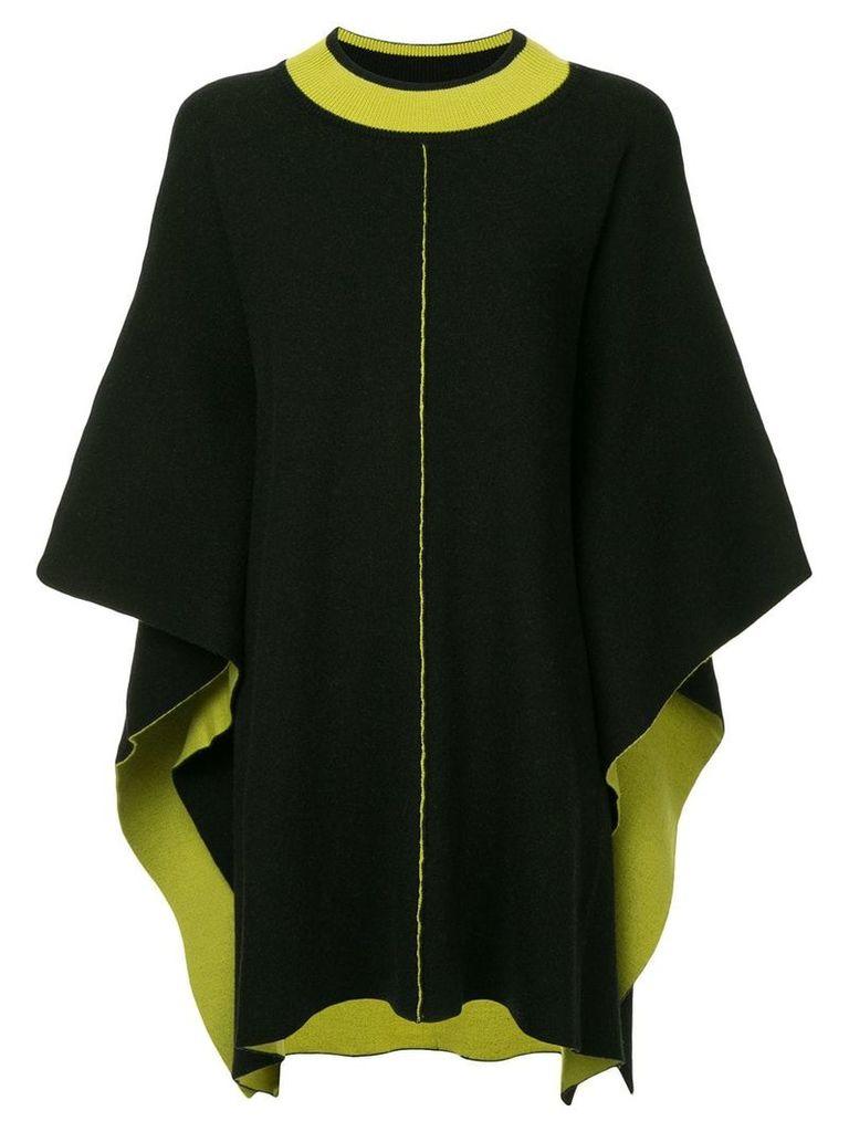 Caban midi knit cape - Black