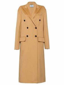 Prada double breasted midi coat - Brown