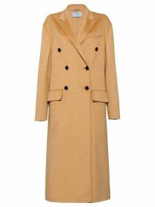 Prada double breasted midi coat - Brown