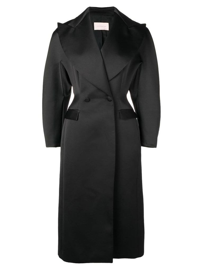 Christopher Kane satin double breasted coat - Black