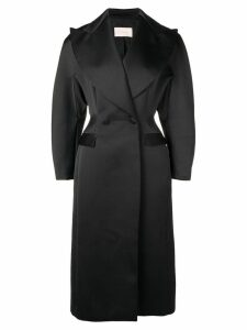 Christopher Kane satin double breasted coat - Black