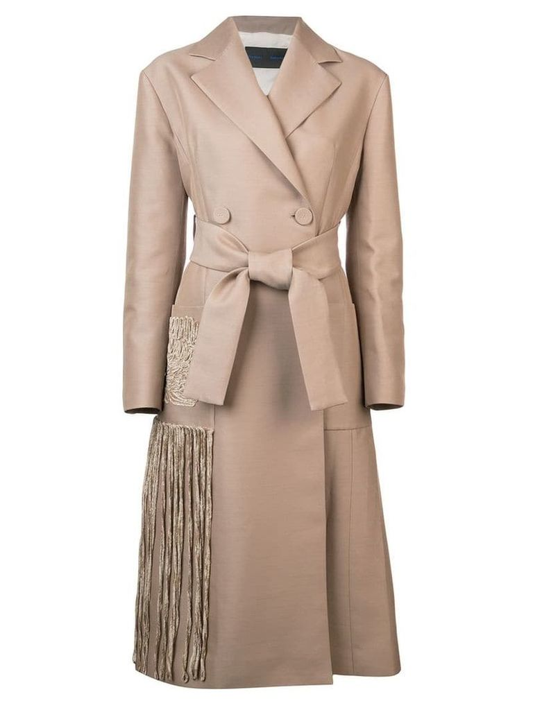 Proenza Schouler Chenille Embroidered Long Belted Coat - Brown
