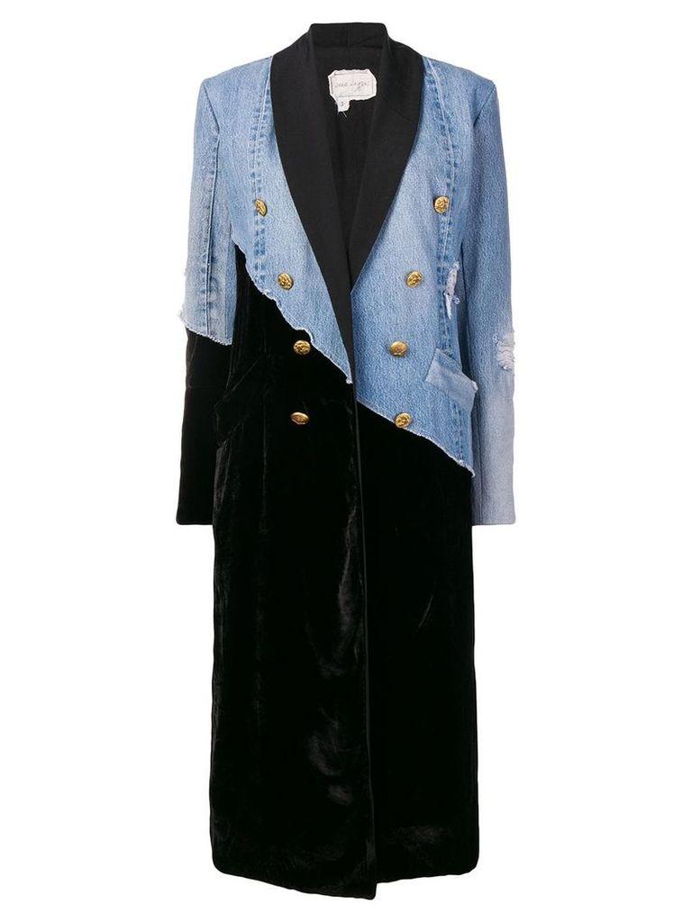 Greg Lauren double-breasted long coat - Blue