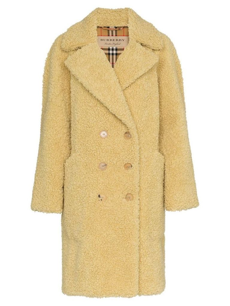 Burberry Lillingstone faux shearling wool blend coat - Neutrals