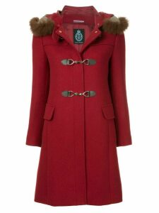 Guild Prime fur collar double breasted coat - Red