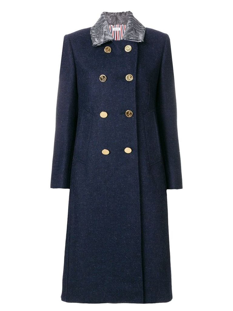 Thom Browne Fur Top Collar Wool Overcoat - Blue