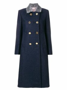 Thom Browne Fur Top Collar Wool Overcoat - Blue