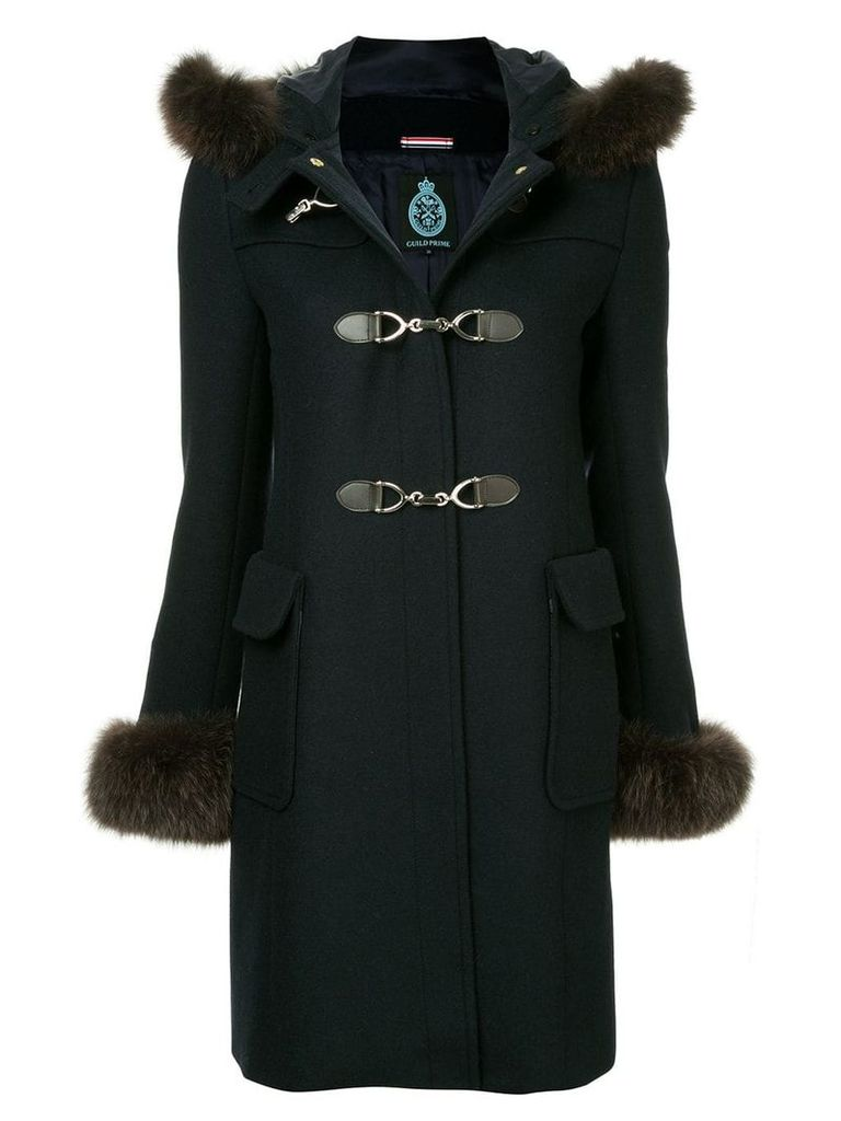 Guild Prime fur collar double breasted coat - Blue