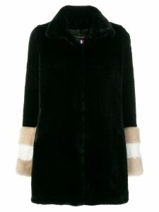 La Seine & Moi Carene fur-sleeved coat - Black