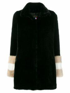 La Seine & Moi Carene fur-sleeved coat - Black
