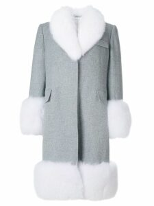 Thom Browne Oversized Flannel Chesterfield Coat With Fox Fur Trim -