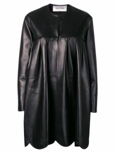 Valentino scalloped leather coat - Black